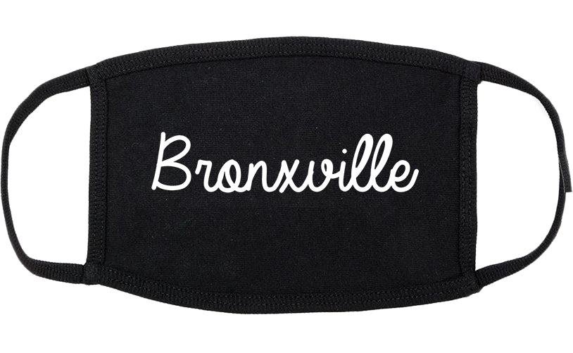 Bronxville New York NY Script Cotton Face Mask Black