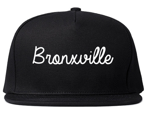 Bronxville New York NY Script Mens Snapback Hat Black