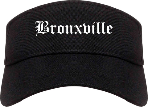 Bronxville New York NY Old English Mens Visor Cap Hat Black