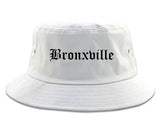 Bronxville New York NY Old English Mens Bucket Hat White