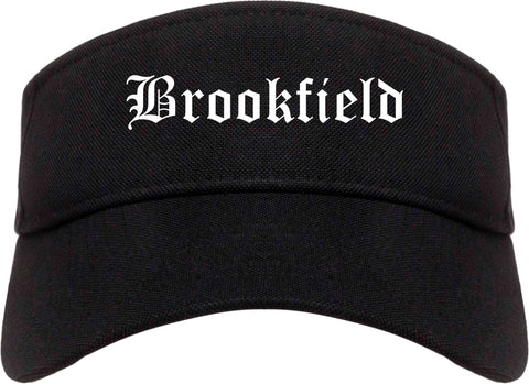 Brookfield Wisconsin WI Old English Mens Visor Cap Hat Black