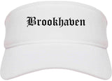 Brookhaven Pennsylvania PA Old English Mens Visor Cap Hat White