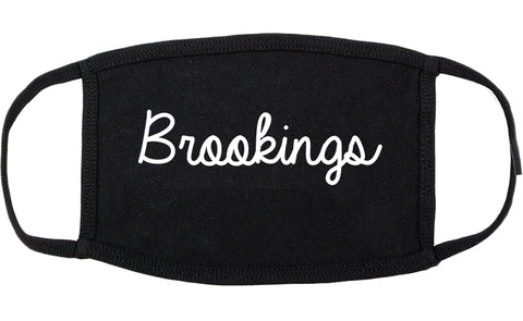 Brookings Oregon OR Script Cotton Face Mask Black