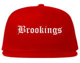 Brookings South Dakota SD Old English Mens Snapback Hat Red