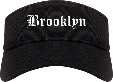 Brooklyn Ohio OH Old English Mens Visor Cap Hat Black