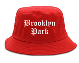 Brooklyn Park Minnesota MN Old English Mens Bucket Hat Red