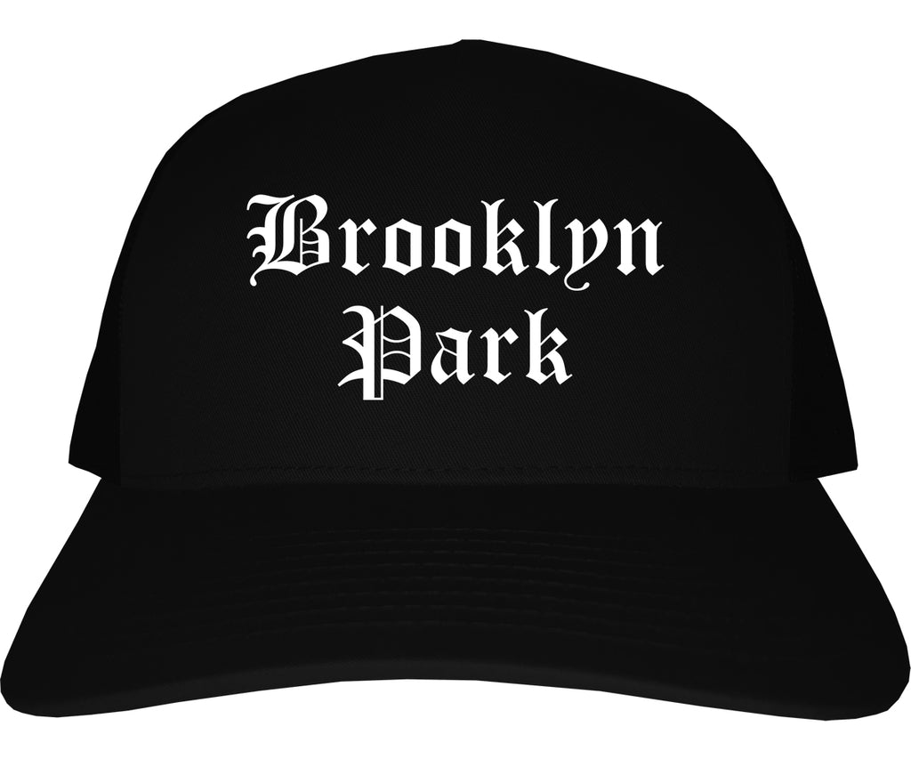 Brooklyn Park Minnesota MN Old English Mens Trucker Hat Cap Black