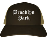 Brooklyn Park Minnesota MN Old English Mens Trucker Hat Cap Brown