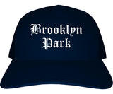 Brooklyn Park Minnesota MN Old English Mens Trucker Hat Cap Navy Blue