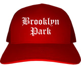Brooklyn Park Minnesota MN Old English Mens Trucker Hat Cap Red