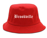 Brookville Ohio OH Old English Mens Bucket Hat Red