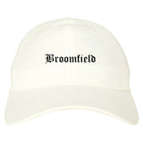 Broomfield Colorado CO Old English Mens Dad Hat Baseball Cap White