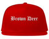 Brown Deer Wisconsin WI Old English Mens Snapback Hat Red