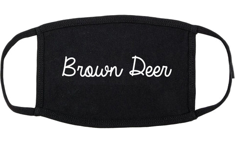 Brown Deer Wisconsin WI Script Cotton Face Mask Black