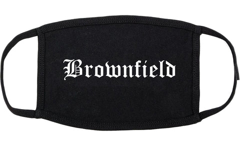 Brownfield Texas TX Old English Cotton Face Mask Black