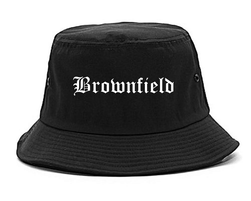Brownfield Texas TX Old English Mens Bucket Hat Black
