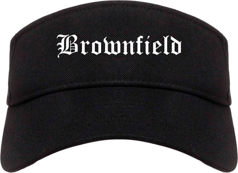 Brownfield Texas TX Old English Mens Visor Cap Hat Black