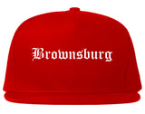 Brownsburg Indiana IN Old English Mens Snapback Hat Red