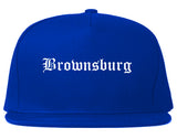 Brownsburg Indiana IN Old English Mens Snapback Hat Royal Blue