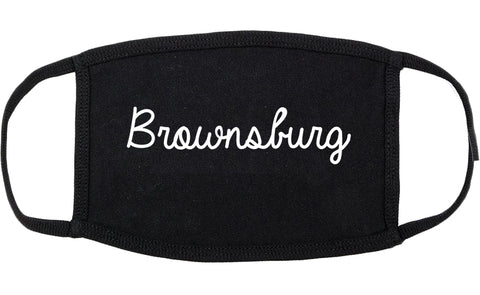 Brownsburg Indiana IN Script Cotton Face Mask Black