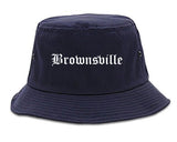 Brownsville Texas TX Old English Mens Bucket Hat Navy Blue