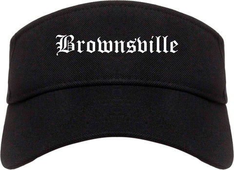 Brownsville Texas TX Old English Mens Visor Cap Hat Black