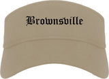 Brownsville Texas TX Old English Mens Visor Cap Hat Khaki