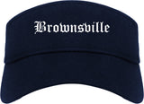 Brownsville Texas TX Old English Mens Visor Cap Hat Navy Blue