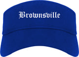 Brownsville Texas TX Old English Mens Visor Cap Hat Royal Blue