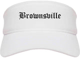 Brownsville Texas TX Old English Mens Visor Cap Hat White