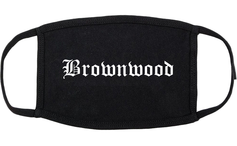 Brownwood Texas TX Old English Cotton Face Mask Black