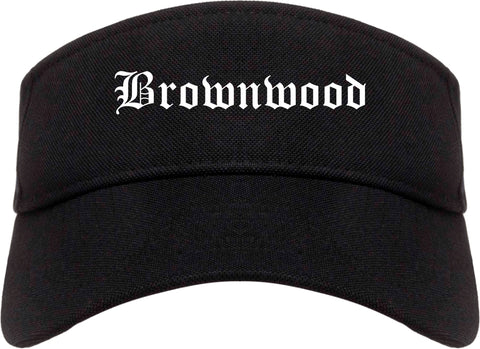Brownwood Texas TX Old English Mens Visor Cap Hat Black