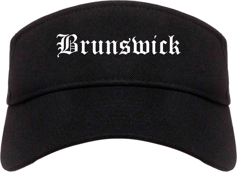 Brunswick Ohio OH Old English Mens Visor Cap Hat Black