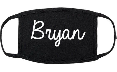 Bryan Ohio OH Script Cotton Face Mask Black