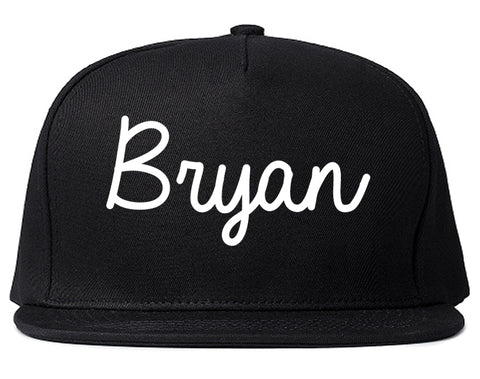 Bryan Ohio OH Script Mens Snapback Hat Black