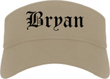 Bryan Ohio OH Old English Mens Visor Cap Hat Khaki