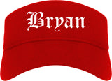 Bryan Ohio OH Old English Mens Visor Cap Hat Red
