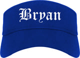 Bryan Ohio OH Old English Mens Visor Cap Hat Royal Blue