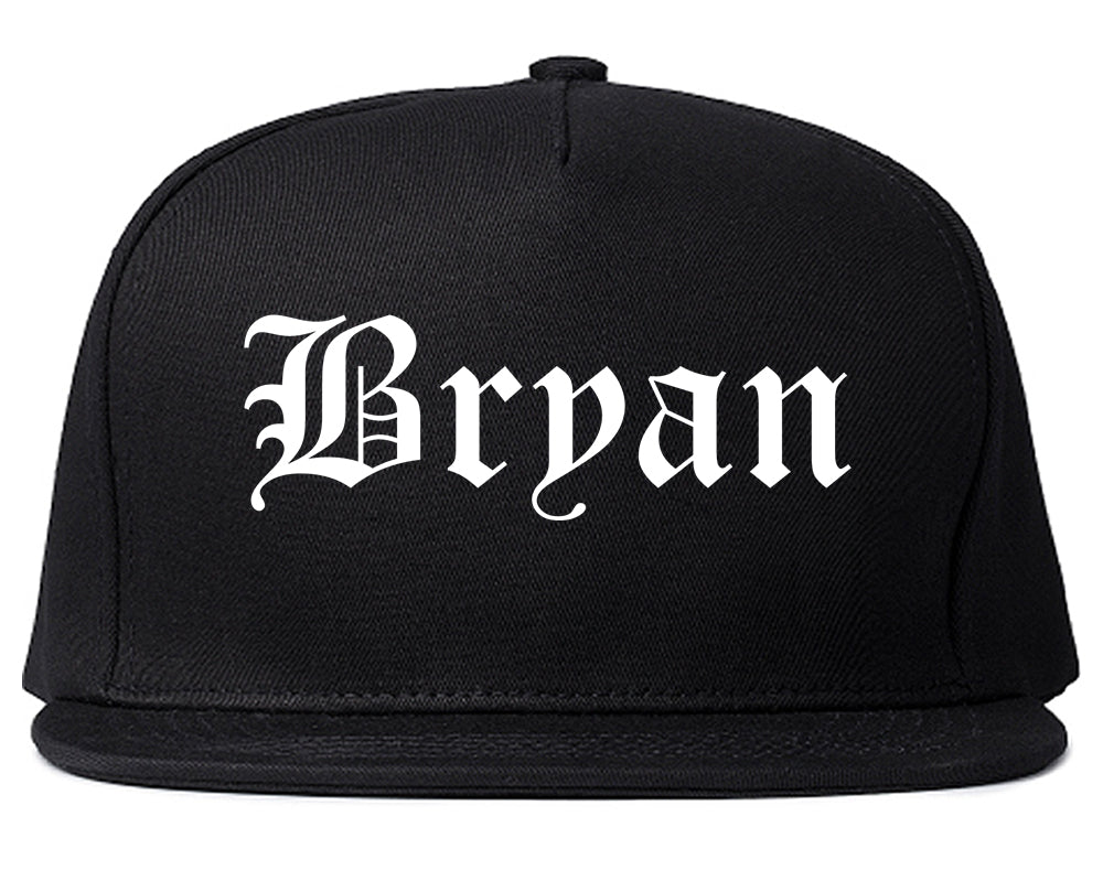 Bryan Texas TX Old English Mens Snapback Hat Black