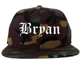 Bryan Texas TX Old English Mens Snapback Hat Army Camo