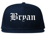 Bryan Texas TX Old English Mens Snapback Hat Navy Blue
