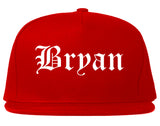 Bryan Texas TX Old English Mens Snapback Hat Red