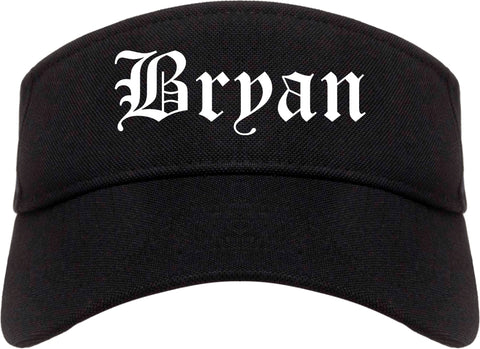 Bryan Texas TX Old English Mens Visor Cap Hat Black
