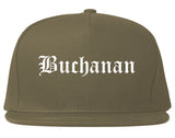Buchanan Michigan MI Old English Mens Snapback Hat Grey