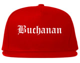 Buchanan Michigan MI Old English Mens Snapback Hat Red