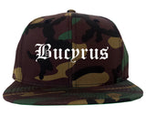 Bucyrus Ohio OH Old English Mens Snapback Hat Army Camo