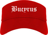 Bucyrus Ohio OH Old English Mens Visor Cap Hat Red