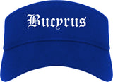 Bucyrus Ohio OH Old English Mens Visor Cap Hat Royal Blue