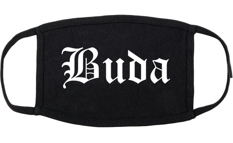 Buda Texas TX Old English Cotton Face Mask Black