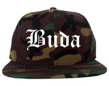 Buda Texas TX Old English Mens Snapback Hat Army Camo